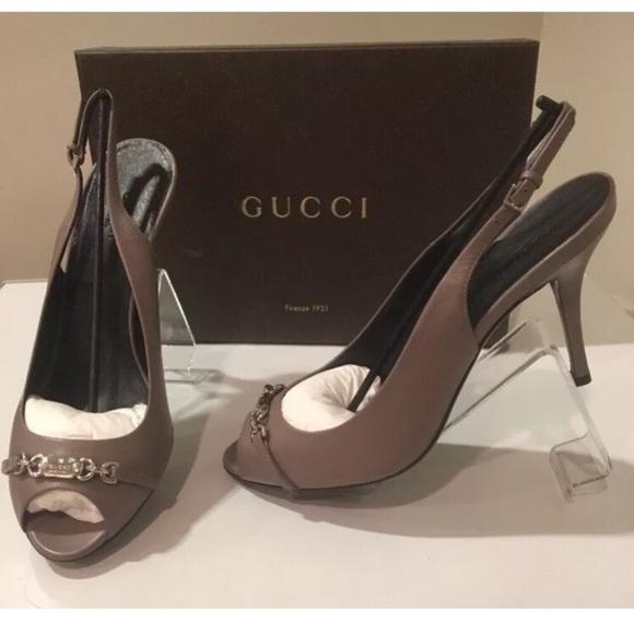 7c5aa28c4 Gucci Shoes   New Mauve Leather Peep Toe Stiletto Sz 10   Poshmark